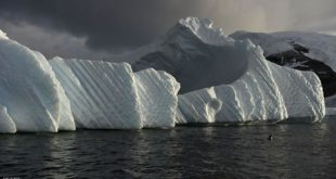 An iceberg is pictured in the western Antarctic peninsula, on March 04, 2016.   Like seals and whales, penguins eat krill, an inch-long shrimp-like crustacean that forms the basis of the Southern Ocean food chain. But penguin-watchers say the krill are getting scarcer in the western Antarctic peninsula, under threat from climate change and fishing.  / AFP / EITAN ABRAMOVICH        (Photo credit should read EITAN ABRAMOVICH/AFP/Getty Images)