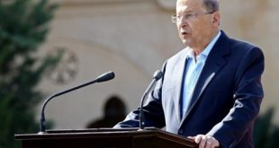 Lebanese President Michel Aoun delivers a speech during a rally celebrating his election on November 6, 2016, at the presidential palace in Baabda. Lebanese lawmakers ended a two-year political vacuum October 31, 2016 by electing as president ex-army chief Michel Aoun, who promised to protect the country from spillover from the war in neighbouring Syria. / AFP PHOTO / ANWAR AMRO