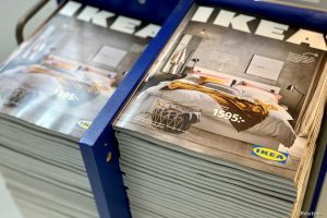 The 2021 catalogues are stacked at an IKEA store on the outskirts of Stockholm, Sweden December 5, 2020. Picture taken December 5, 2020. REUTERS/Anna Ringstrom