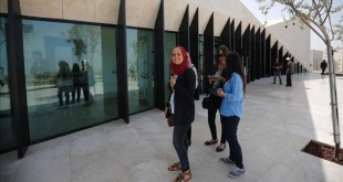 Journalists visit the Palestinian Museum in West Bank town of Birzeit  near Ramallah  on May 17  2016  during a press preview on the eve of the museum s opening to the public    AFP PHOTO   ABBAS MOMANI