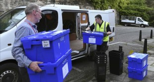 Ballot boxes to be used for voting in the EU referendum  are collected from storage in New Parliament House for delivery to polling stations in Edinburgh  in Scotland  Britain June 22  2016  REUTERS Clodagh Kilcoyne