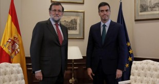 MADRID  12 02 2016   Pedro Sanchez  PSOE  y Mariano Rajoy  PP  durante la reunion que han mantenido en el Congreso de los Diputados  FOTO  JOSE LUIS ROCA