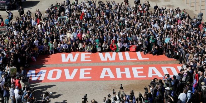 Greenpeace stage a protest outside the UN Climate Change Conference 2016  COP22  in Marrakech  Morocco  November 18  2016  REUTERS Youssef Boudlal