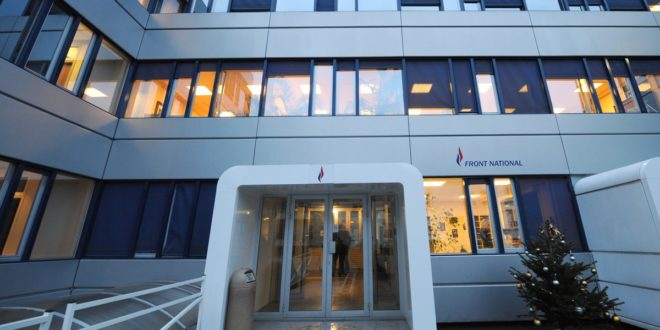 (FILES) This file photo taken on December 14, 2008 shows the headquarters of the French far-right Front National (FN) party in Nanterre during its inauguration. A new search took place on February 20, 2017 of the French far-right Front National (FN) party in Nanterre as part of a case of misusing public funds, the party said in a statement. Far-right leader Le Pen is accused by the European Parliament of defrauding it of nearly 340,000 euros paid to two parliamentary aides. / AFP PHOTO / BORIS HORVAT