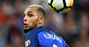 France's defender Layvin Kurzawa eyes the ball during the FIFA World Cup 2018 qualifying football match France vs the Netherlands on August 31, 2017 at the Stade de France stadium in Saint-Denis, north of Paris.    / AFP PHOTO / FRANCK FIFE