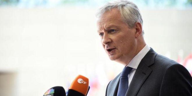 French Finance Minister Bruno Le Maire answers journalists during Eurogroup meeting at the EU headquarters in Luxembourg on June 13, 2019. (Photo by JOHN THYS / AFP)