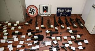 "This handout picture released by the Italian police (Polizia di Stato)of Turin, on July 15 2019, shows a big cache of guns and ammunition was seized by the Turin special police force, called Digos, led the operations, assisted by police in Milan, Varese, Forli and Novara. - Anti-terrorism police in northern Italy have seized an air-to-air missile and other sophisticated weapons during raids on far-right extremist groups. (Photo by FRANCESCO AMMENDOLA and HO / Polizia di Stato / AFP) / RESTRICTED TO EDITORIAL USE - MANDATORY CREDIT ""AFP PHOTO / POLIZIA DI STATO - ITALIAN POLICE"" - NO MARKETING NO ADVERTISING CAMPAIGNS - DISTRIBUTED AS A SERVICE TO CLIENTS"