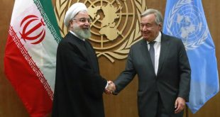 Iran's President Hassan Rouhani shakes hands with United Nations Secretary General Antonio Guterres as they meet on the sidelines of the 74th session of the United Nations General Assembly at U.N. headquarters in New York City, New York, U.S., September 25, 2019. REUTERS/Yana Paskova - HP1EF9P1DFYHH