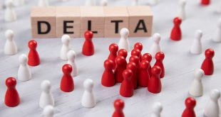 wooden blocks with the word delta surrounded by white and red wooden figurines. symbol for corona mutant delta.