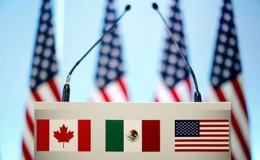 FILE PHOTO: The flags of Canada, Mexico and the U.S. are seen on a lectern before a joint news conference on the closing of the seventh round of NAFTA talks in Mexico City, Mexico, March 5, 2018. REUTERS/Edgard Garrido/File Photo