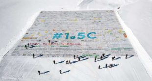 "TOPSHOT - An aerial view shows a massive collage of 125,000 drawings and messages from children from around the world about climate change seen rolled out on the Aletsch Glacier at an altitude of 3,400 metres near the Jungfraujoch in the Swiss Alps smashing the world record for the giant postcard, on November 16, 2018. The mosaic of postcards, measuring 2,500 square metres (26,910 square feet), was laid out in the snow to ""boost a global youth climate movement ahead of the next global climate conference (COP24) in Poland"", next month, said the WAVE foundation, which organised the event in cooperation with Swiss authorities. / AFP / Fabrice COFFRINI"