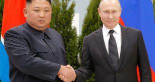Russian President Vladimir Putin and North Korea's leader Kim Jong Un shake hands during their meeting in Vladivostok, Russia,  April 25, 2019.  Alexander Zemlianichenko/Pool via REUTERS